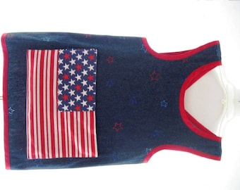 Child's Denim Arts and Crafts Smock- Back to School-Stars and Stripes-Red, White, Blue
