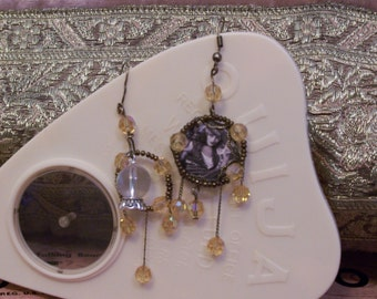 Gypsy Fortune Teller Crystal Ball Dangle Hoop Bead Earrings