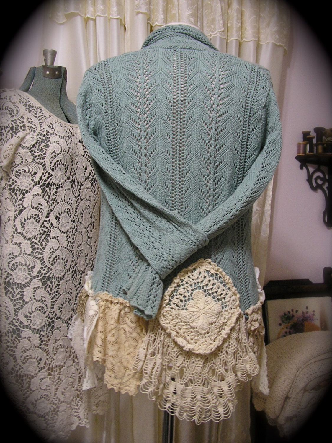 Shabby Lagenlook Sweater Altered Upcycled Lace Crocheted