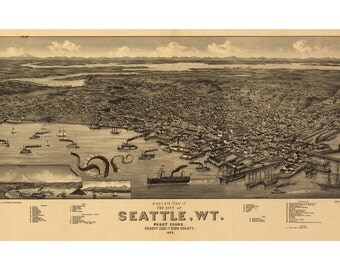 Digital Print, Seattle, Octopus Tentacles, Seattle Map, Cthulhu, Giant Squid, Seattle Art, Puget Sound Map, Geekery, Alternate Histories