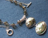 SET - Abalone Pendant Necklace with Silver Surround - Matching Earrings