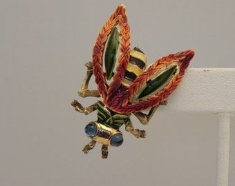RARE Vintage KRAMER Enameled Bumble Bee Brooch