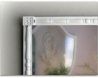 Greek Revival Antique White Mirror, Shabby Chic