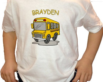 School Bus customized with name infant name kids youth T-shirt i love school buses