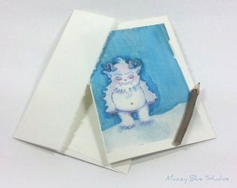 CARD Art Yeti Abominable Snowman Notecard w/Envelope