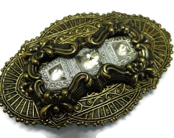 Victorian Style Brass and Antique Czech Glass Brooch by Dr Brassy Steampunk