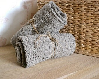 2 Natural Linen Towels Massage Throw Undyed Wafer Towels Rustic Raw Towels Pre-washed Eco Towels