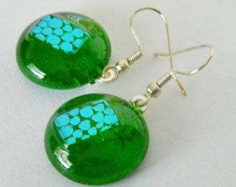 Earrings Dangle Earrings Fused Glass Dangle Earrings Dichroic Circles with Spots