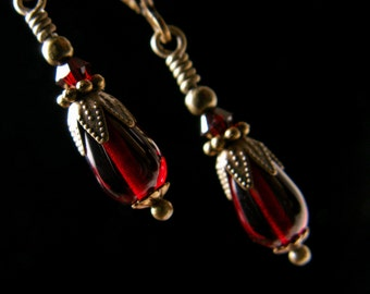 Blood Red Crystal Victorian Earrings Crimson Tiny Dangle Edwardian Bridal Drops Antique Brass Filigree Titanic Temptations Steampunk Jewelry