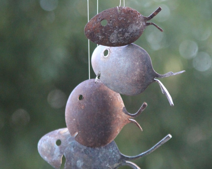 Rustic Spoon Fish Wind Chimes Silver Flatware Art, Barn Metal Vintage, Old Minnow Fish Pale, Fishing Bucket Pail, Old Cottage Decor Rustic