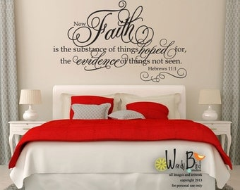Faith Hebrews 11:1 - Vinyl Wall Decal Sticker Art - Bible Wall Art