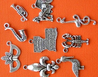 New Orleans Charm Collection Antique  Silver Tone 9 Different Charms - COL173