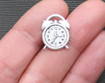 6 Alarm Clock Charms Antique  Silver Tone 2 Sided Fun Details - SC827