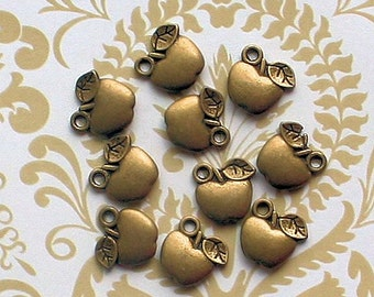 12 Apple Charms Antique Bronze Tone Two Sided - BC189