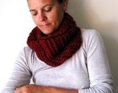 Womens Cowl Scarf Neckwarmer Hand knitted in Dark Red Burgundy