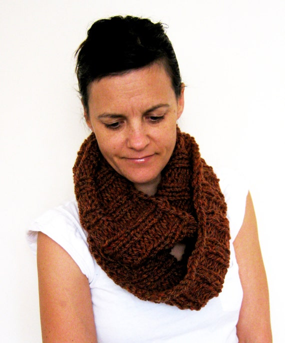 Hand Knitted Ribbed Cowl Infinity Scarf in Spice