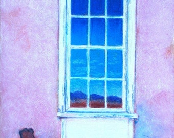 Old Window in the historic Empire Ranch Headquarters building, Arizona. reproduction