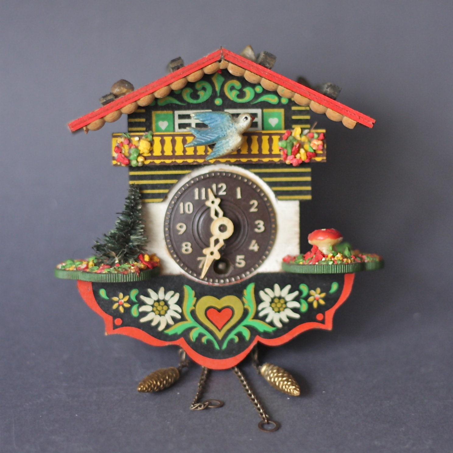 Vintage German Cuckoo Clock With Tiny Toadstool And Edelweiss