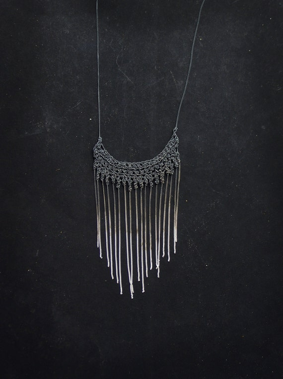 finge necklace, oxidized sterling silver, crochet necklace, rustic, washed gredient, handmade, contemporary jewelry