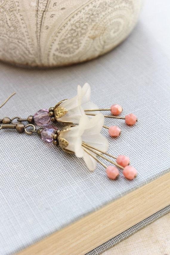 Lucite Flower Earrings,  Long Dangle Earrings, Vintage Style, Trumpet Flower, Fairy Pixie Botanical Drop Ivory Pink Peach Plum Purple Spring