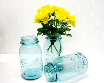 Lot of 3 Vintage Blue Ball Mason Quart Canning Jars - Wedding centerpiece, table setting - Listing for Three