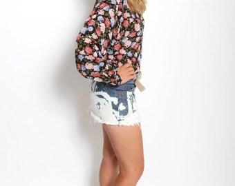 Vintage 1980s pink olive floral long sleeved blouse