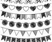 Doodle Bunting Clipart Clip Art, Doodle Flags Ribbons Banners Clipart Clip Art - Commercial and Personal Use