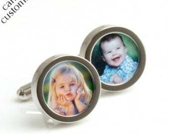 Custom Photograph Cufflinks of Your Children - Gift for Father and Grandfather