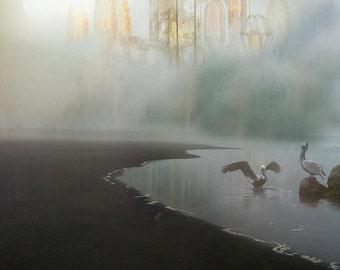 City of Light  - 8 x 10 Ocean Landscape - Seascape - Pelicans and Fantasy Illuminated City - Lightbulbs - Limited Edition Print