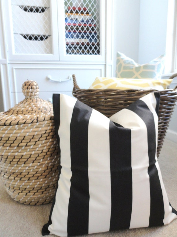 50 % OFF Black Stripe Outdoor Pillow Cover - Designer Pillow - Indoor Outdoor - Stripe Tuxedo in Black - 18 inches - Pillow Cover