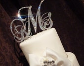 Swarovski Monogram cake topper - Glitzy wedding cake topper