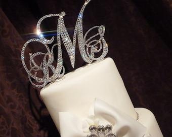 Swarovski Monogram cake topper - Glitzy wedding cake topper