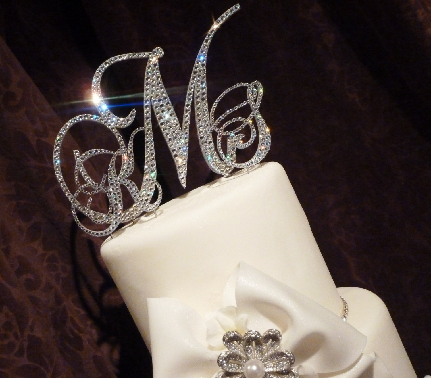 swarovski crystal monogram wedding cake topper swarovski monogram cake topper glitzy wedding by panachebride 20674