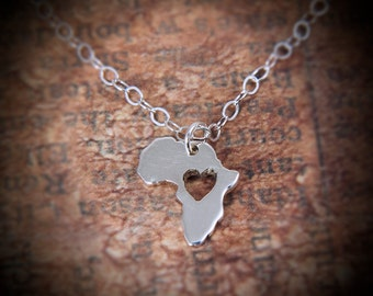 Africa pendant map - sterling silver africa necklace - Africa map pendant Africa heart