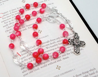 Anglican Rosary / Protestant Prayer Beads in Pink Mother of Pearl with TierraCast Pewter Talavera Cross