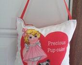 SALE - Valentines Door Hanger - Precious Pup Cake