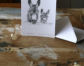 Blank Card - Two Donkeys - Pencil Drawing