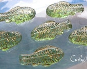 Glass Fish Beads, Czech Glass, Peridot Green with Gold Accents, Large 28 x 13mm, 6 Pcs.