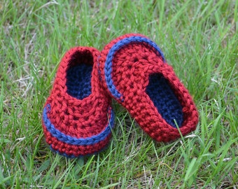 Crochet Baby Boy Loafers - Newborn to 12 Months - Autumn Red and Dark Country Blue - MADE TO ORDER