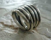 Sterling Silver Ring, Wire Wrapped Ring, Chunky Ring, Statement Ring, Silver Ring, Wide Silver Ring, Organic Ring, Oxidized Silver Ring.