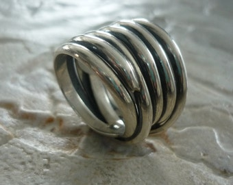 Sterling Silver Ring, Wire Wrapped Ring, Wide Silver Ring, Chunky Ring, Statement Ring, Silver Ring, Organic Ring, Oxidized Silver Ring #170