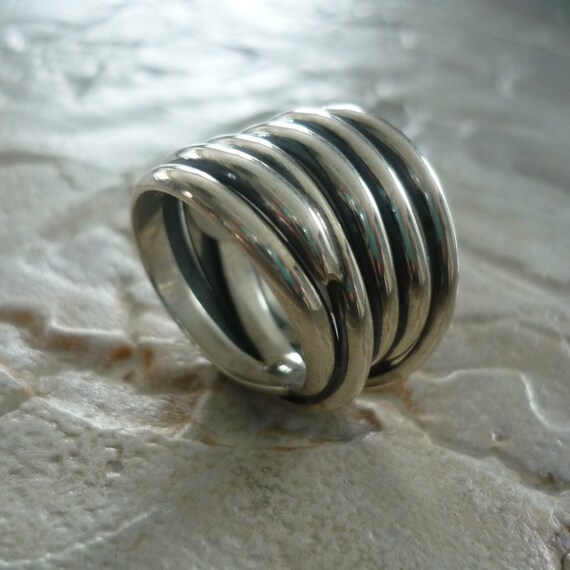 sterling silver ring wire wrapped ring wide silver ring