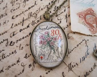 Vintage Botanical Postage Stamp Pendant Necklace in Bronze. Pink flowers. So Beautiful.