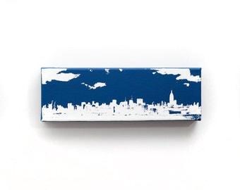 New York Skyline Canvas (12 x 4 inches, Navy Blue w/ White) City Skyline Screenprint/Painting Home Decor