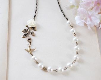 Swallow Bird Leaf Ivory Flower Cream Pearls Necklace. Brass Bird, Resin Flower, Brass Leaf, Swarovski Pearls Necklace. Bridal Necklace