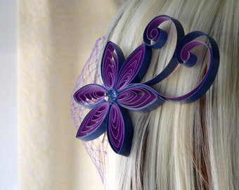 Multicolor Wedding Hair Accessory, Blue and Purple Wedding, Purple Flower Hair Clip