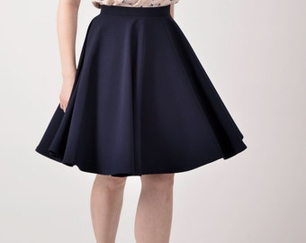 Navy blue skirt, custom made skirt, custom made circle skirt.