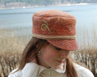 Copper Colored Felted Hat - Felt Hat for Women