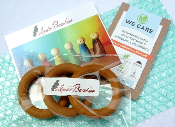Wooden Teething Rings, Organic Baby Teether (lot of 3) Pick Your Finish