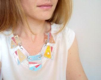Geometric Bib Necklace, Geometric Leather Necklace, Silver Geometric Necklace, Triangle, Metallic Pastel, Geometric Jewelry, Leather jewelry